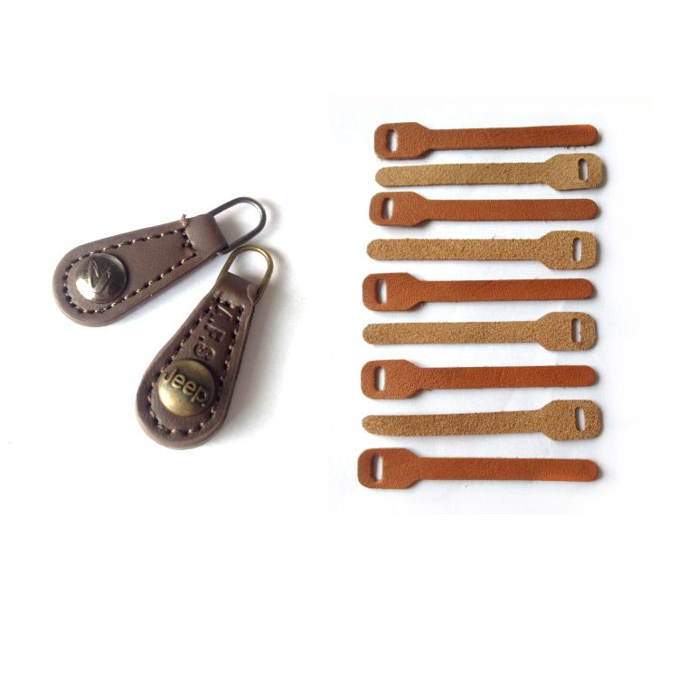High quality leather material custom zipper puller with logo