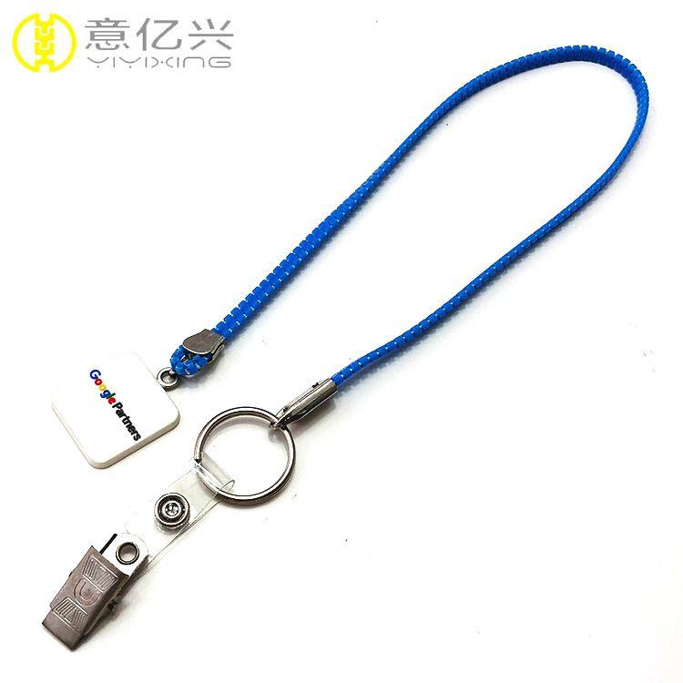 Top Sale Custom Plastic Zip Pouch Zipper Lanyard With Metal Hook