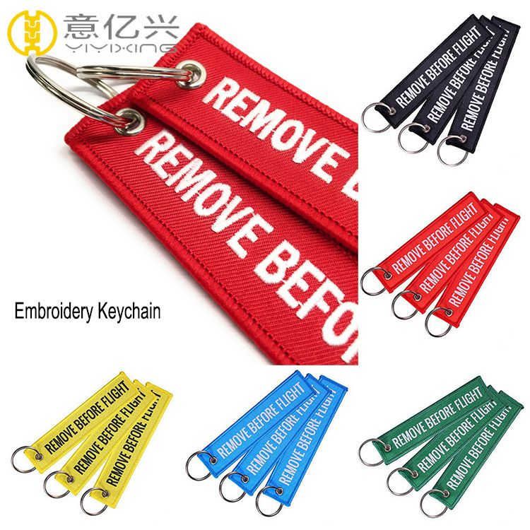 Cheap Custom Fabric Embroidery Remove Before Flight Keychain