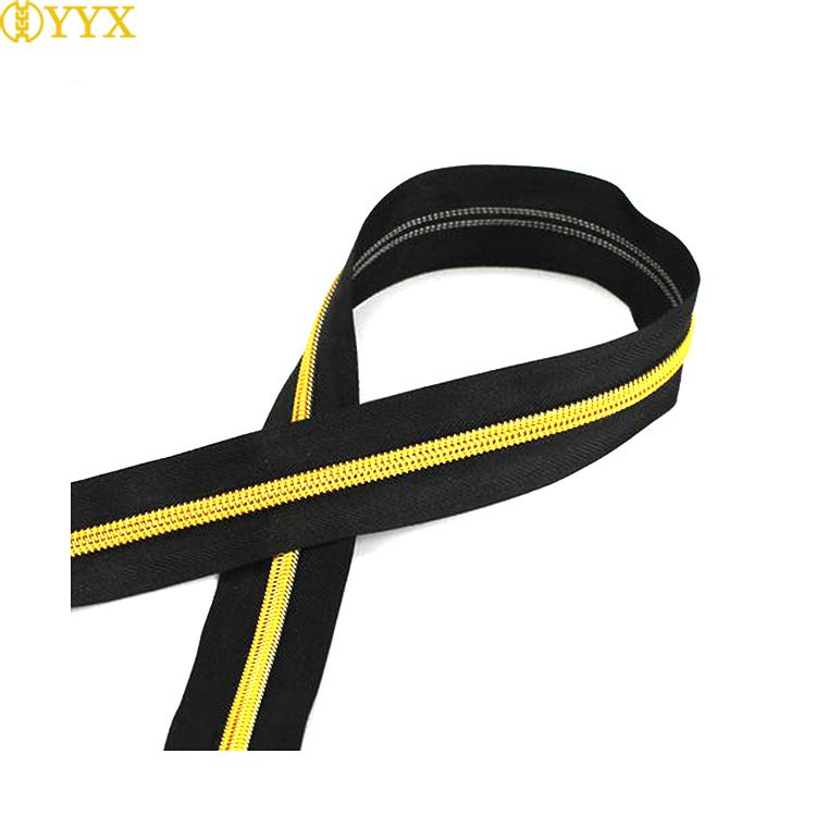 YYX #5 Rainbow gold rose gold color plating Teeth Long Chain Nylon Coil Zipper f