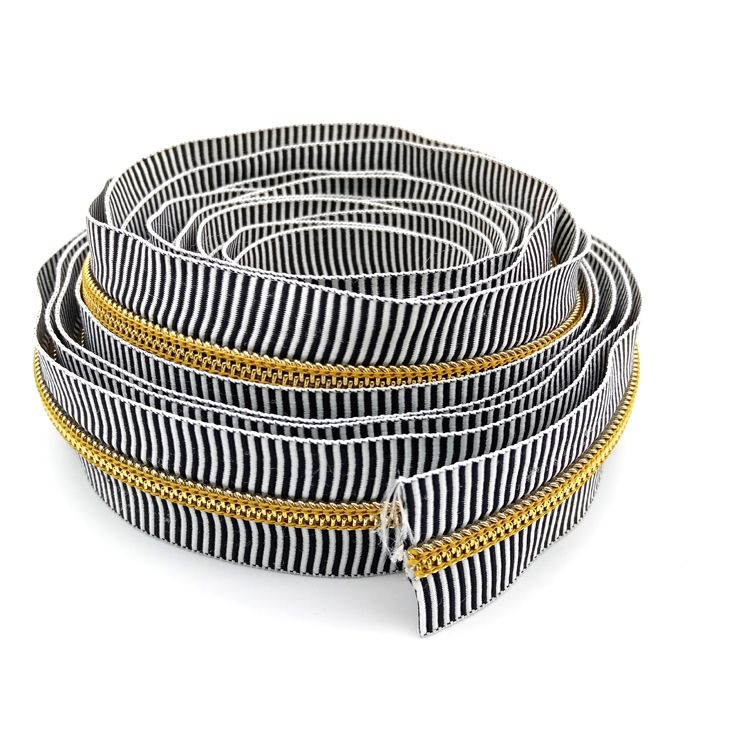 #5 Black and white striped zipper, nylon zipper, colorful zipper